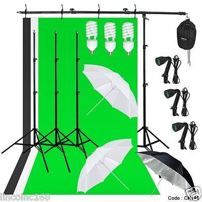 Photography Lighting Muslin Backdrop Boom Stand Studio Kit 3 Backdrop 3 Light