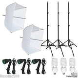 Photography Studio Video Photo Lighting 3 Bulbs 3 Light Stand Kit