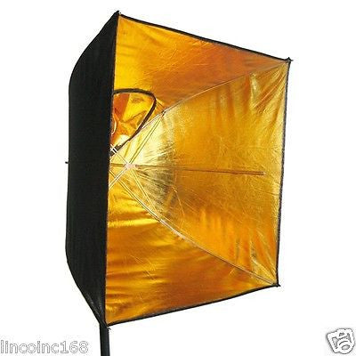 《US SELLER》LINCO Square Gold Photography Studio Reflective Umbrella Softbox