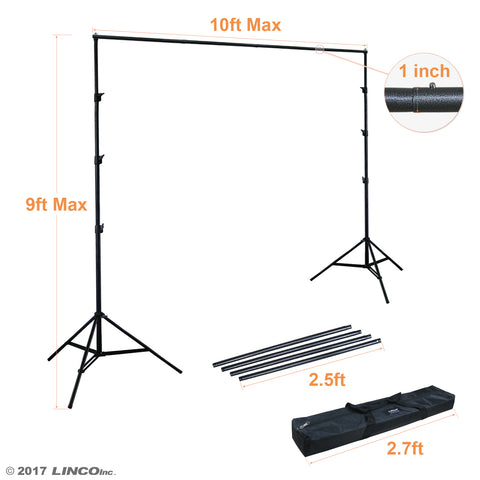 9x10 Adjustable Background Support Stand Photo Backdrop Crossbar Kit 4154-4236