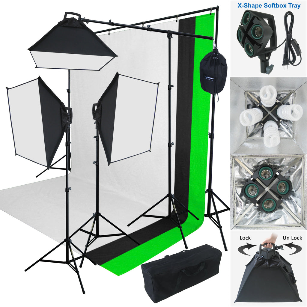 Linco_store 2000 W Photo Studio Lighting Kit-3 Color Muslin Backdrop u0026 Background Stand Photography  sc 1 st  Linco Inc. : photo lighting kit - www.canuckmediamonitor.org