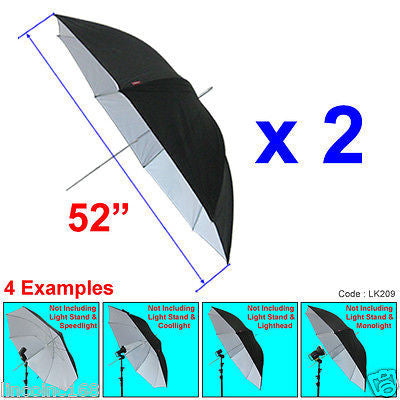 "Linco 52"" Black & White Studio Light Photo Reflector Umbrella Kit"