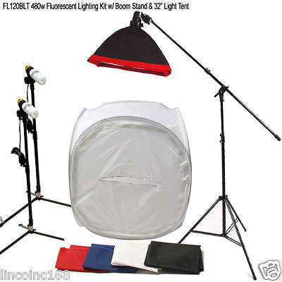 "480w Studio Lighting Boom Stand Softbox Light Kit & 30"" Photo Light Tent"