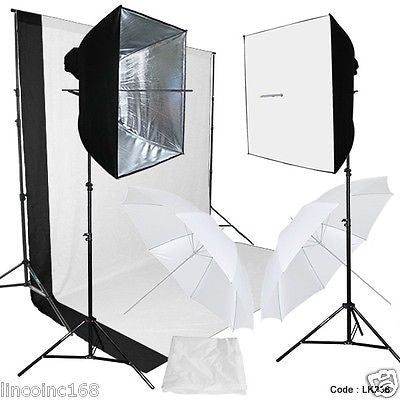 "24"" Photo Softbox Umbrella Studio Continuous Lighting Backdrop Stand Kit"