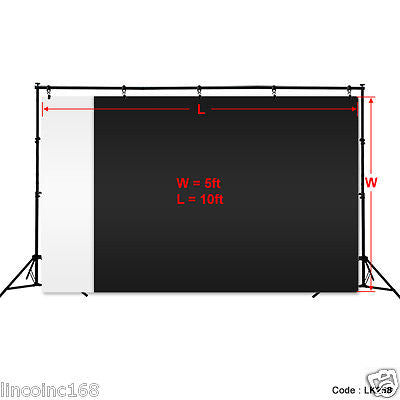Black + White Photography Backdrop Photo Stand Muslin Kit