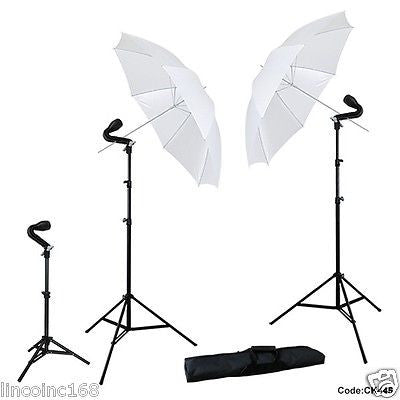 "Studio Photography 2x 33"" Soft White Umbrella + 3x Photo Light Kit LINCO"