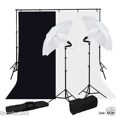 Studio Photo Photography Umbrella Light 9x10 Support Backdrop Stand Lighting Kit