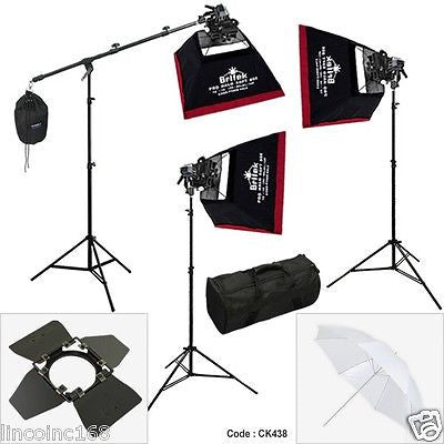 Photography Studio Spot Light Lighting Boom Stand 3 Softbox Kit