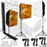 Photography Studio Softbox 3 Continuous Lighting Light Background Stand Kit