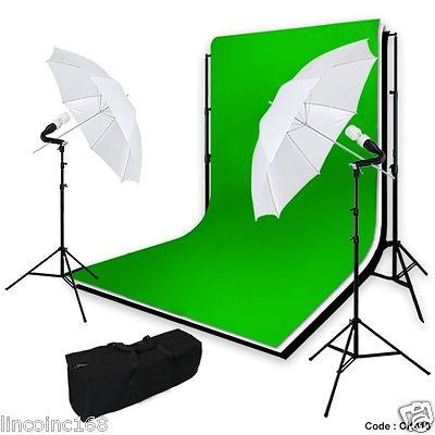 Linco Studio Photography Umbrella Lighting W/ Background Support Kit Carry Case