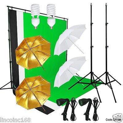 Linco Studio Lighting and Background Muslin Backdrops Photography Studio Kit