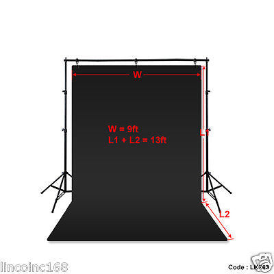 9'x13' Black Photography Backdrop Photo Stand Muslin Background Support Kit