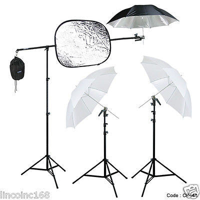 Studio Photography Lighting Boom Stand Kit for Speedlite W/ Reflector Holders