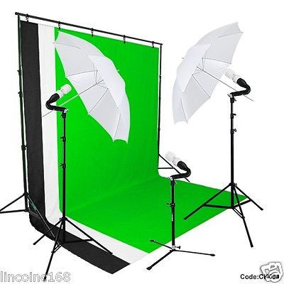 Linco Studio Photography 3 Backdrop & Stand  Umbrella Light Kit  Background