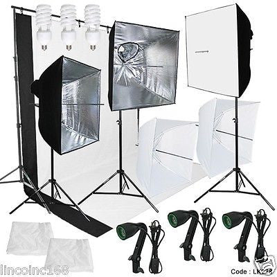 Photography Lighting Muslin Backdrop Stand Studio Kit 3 Backdrop 3 Light Bulb