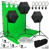 Photography Studio Video Light Lighting Green Background Stands Case Kit