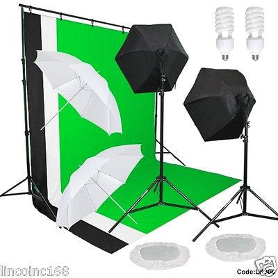 Studio Photography Video Lighting and Background Kit W/ Muslin Backdrops