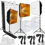 Photography Lighting Muslin Backdrop Stand Studio Kit 3 Light Bulb 3 Backdrop