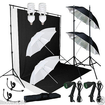 Linco studio photography light w/ Muslin Backdrop Stand Lighting Kits_New