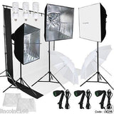 Lighting Muslin Backdrop Stand Studio Kit Photography Backdrop 3 Light Bulb
