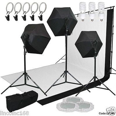 9x13 BW Backdrop Support Stand Photography Studio Video 3 Softbox Lighting Kit