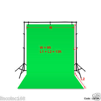 9'x13' Green Photography Backdrop Photo Stand Background Support Muslin Kit
