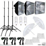 3 Softbox Photography Video Studio Light Lighting Kit Multi Design