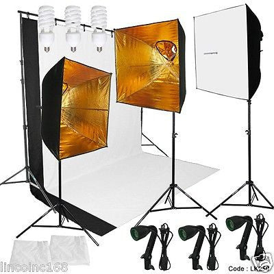 Photography Studio Photo Studio Lighting and Background Kit W/ Muslin Backdrops