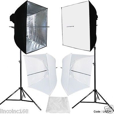 Photo Studio Continuous Lighting Kit Photography 2 Softbox Light Stand LK225