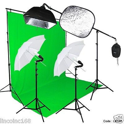 Photography Studio Lighting Video Light and Background Kit W/ Muslin Backdrop