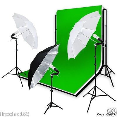 Linco 5'x10' Black White Green Chroma Key Backdrop Kit Photo Umbrella Light Kit