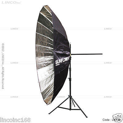 "86"" Photography Studio Lighting Video Sunflower Silver Umbrella Clamp Stand Kit"