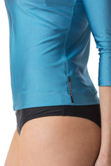 The Nicky Blue Three Quarter Sleeve Rashguard Sun Protective Jacket UPF50