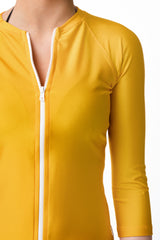 St Tropez Yellow Three Quarter Sleeve Rashguard Sun Protective Jacket UPF50