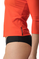 Vemilion Orange Three Quarter Sleeve Rashguard Sun Protective Jacket UPF50