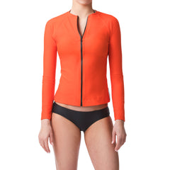 Vermilion Orange Long Sleeve Rashguard Sun Protective Jacket UPF50