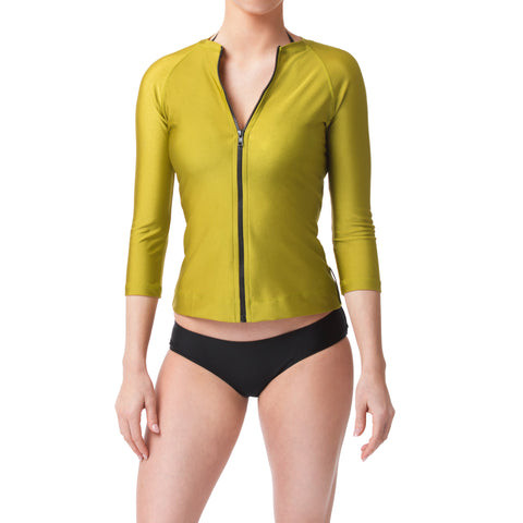 Bond Green Three Quarter Sleeve Rashguard Sun Protective Jacket UPF50