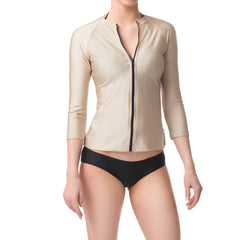 Champagne Gold Three Quarter Sleeve Rashguard Sun Protective Jacket UPF50