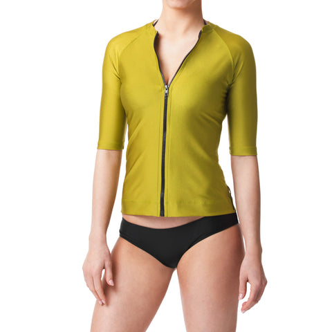 Bond Green Short Sleeve Rashguard Sun Protective Jacket UPF50
