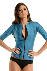 The Nicky Blue Short Sleeve Rashguard Sun Protective Jacket UPF50