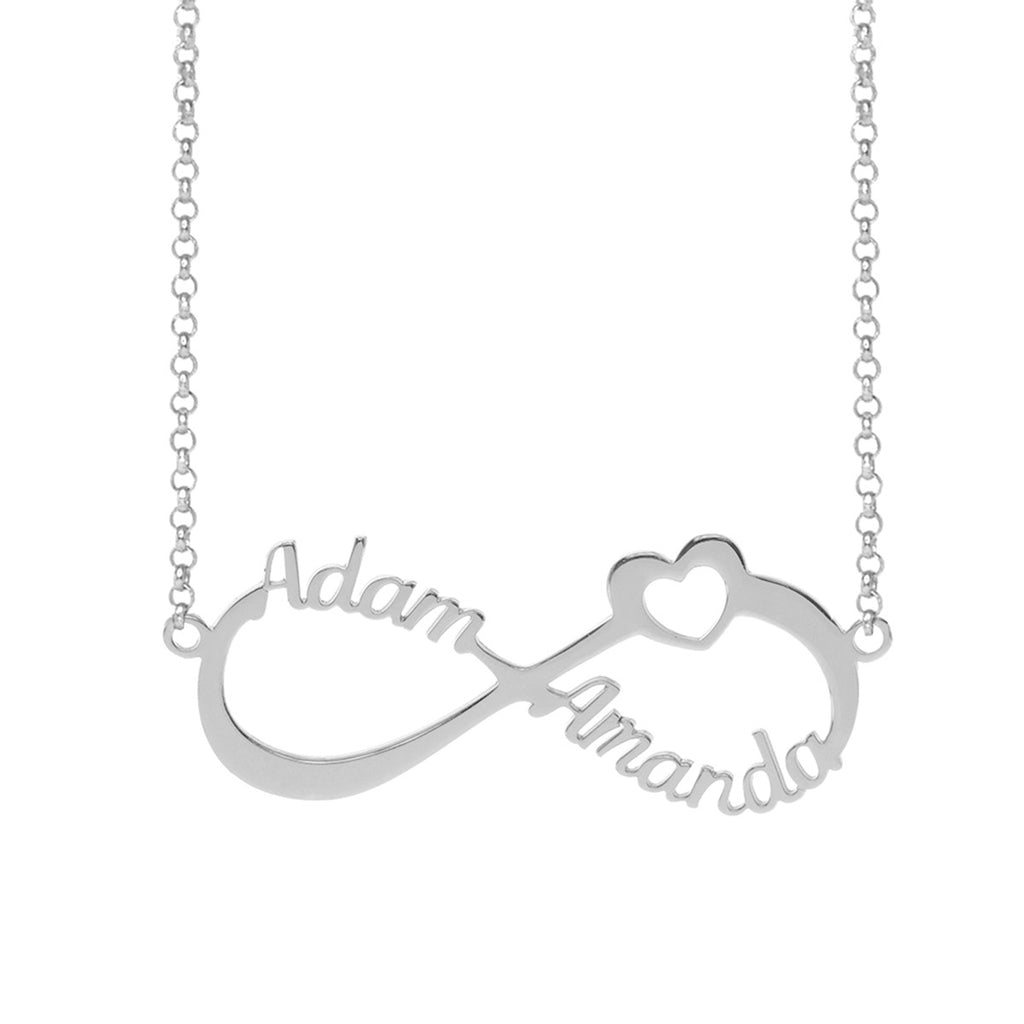 infinity necklace white gold. couple infinity name necklace with heart - white gold