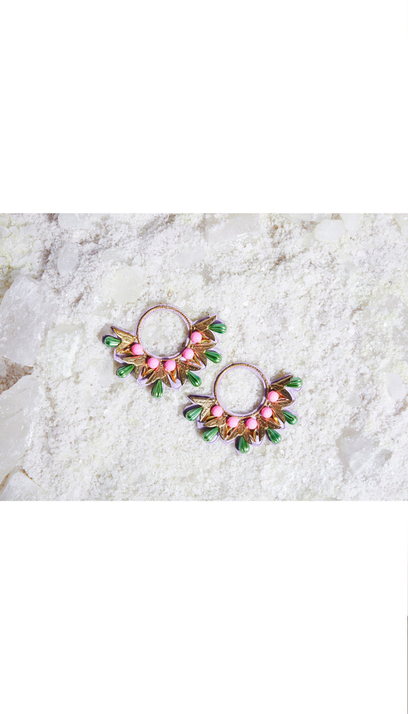 Chunky Hand Embroidered Hoops