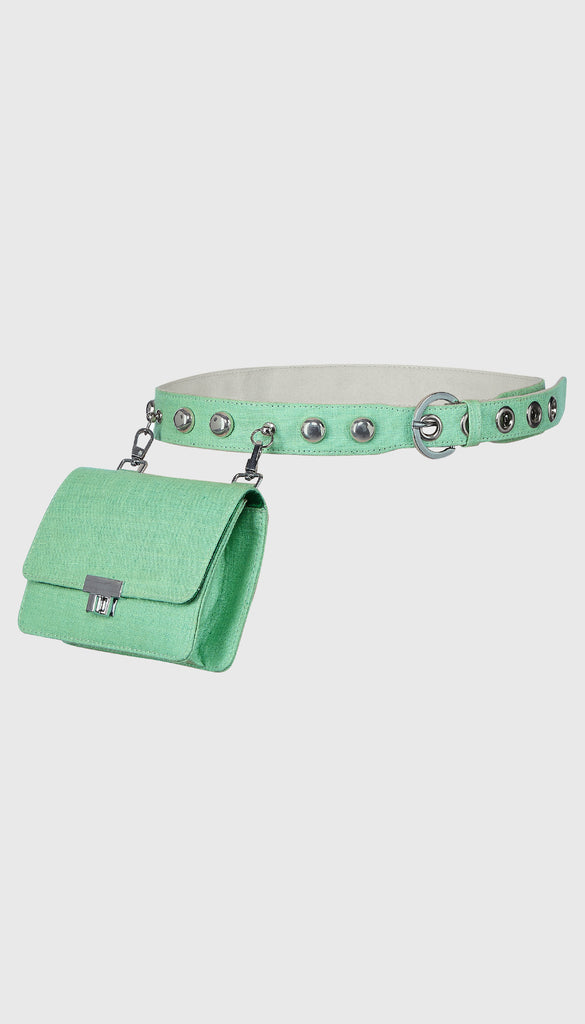 Sea Green Linen Belt Bag
