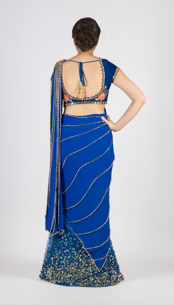 Electric Blue Frozen Saree Set