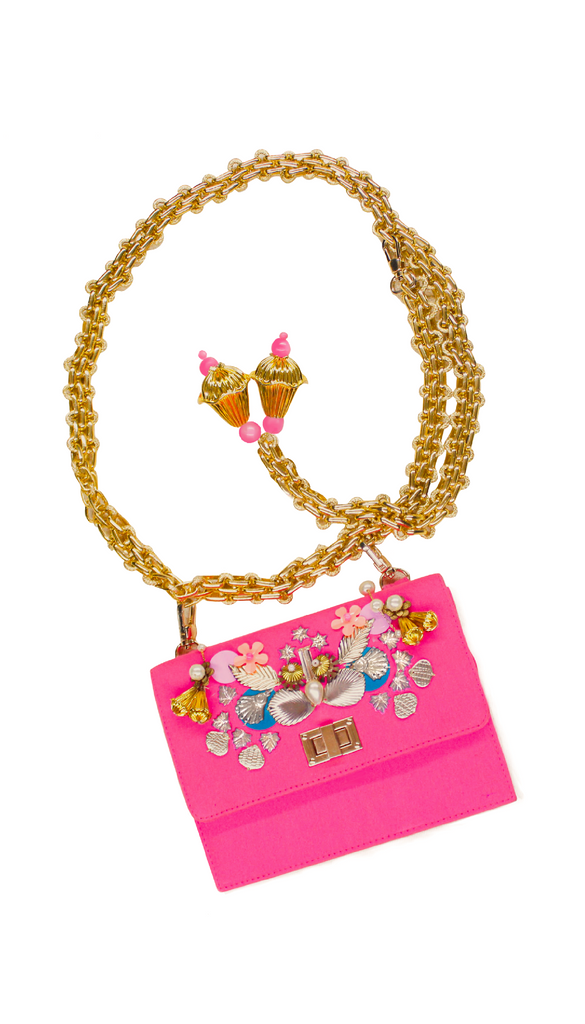 Hot Pink Denim Chain-link Belt-Bag