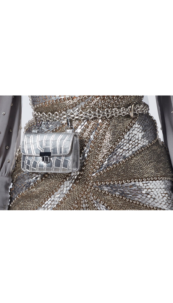 Chain-Link Belt Bag - silver