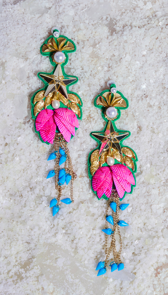 Leaf and floral long earrings