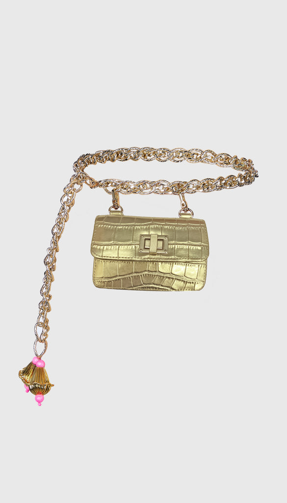 Gold Chain Link Belt Bag
