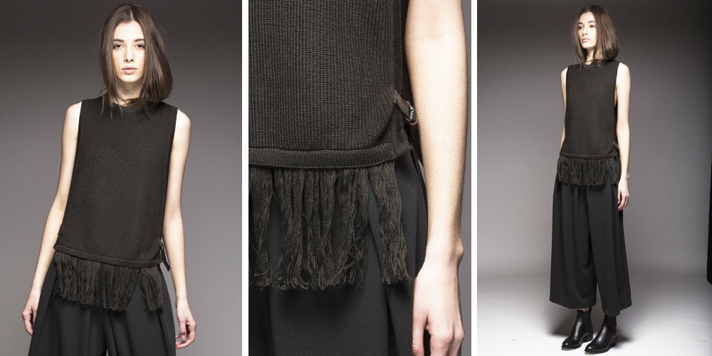 SABATINI Merino Knit Vest with Fringing