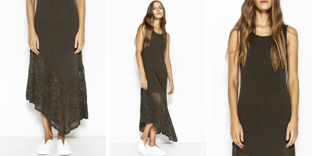 Sabatini Rib Lace Hem Dress